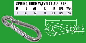 6mm Spring Hook with eyelet