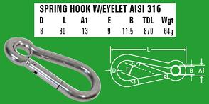 8mm Spring Hook with eyelet