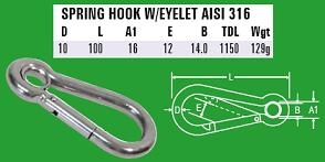 10mm Spring Hook with eyelet